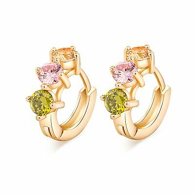 Womens jewelry Hoop Earrings Yellow Gold Filled Round Pink Green Orange CZ