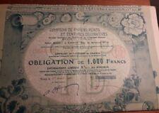 RARE obligation de 1000 frs NANCY COMPTOIR PAPIERS PEINTS TENTURES DECOR