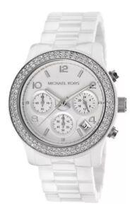 ddbd61ab6b9e8 Michael Kors New MK5188 Runway White Dial Ceramic Glitz Ladies Wrist ...