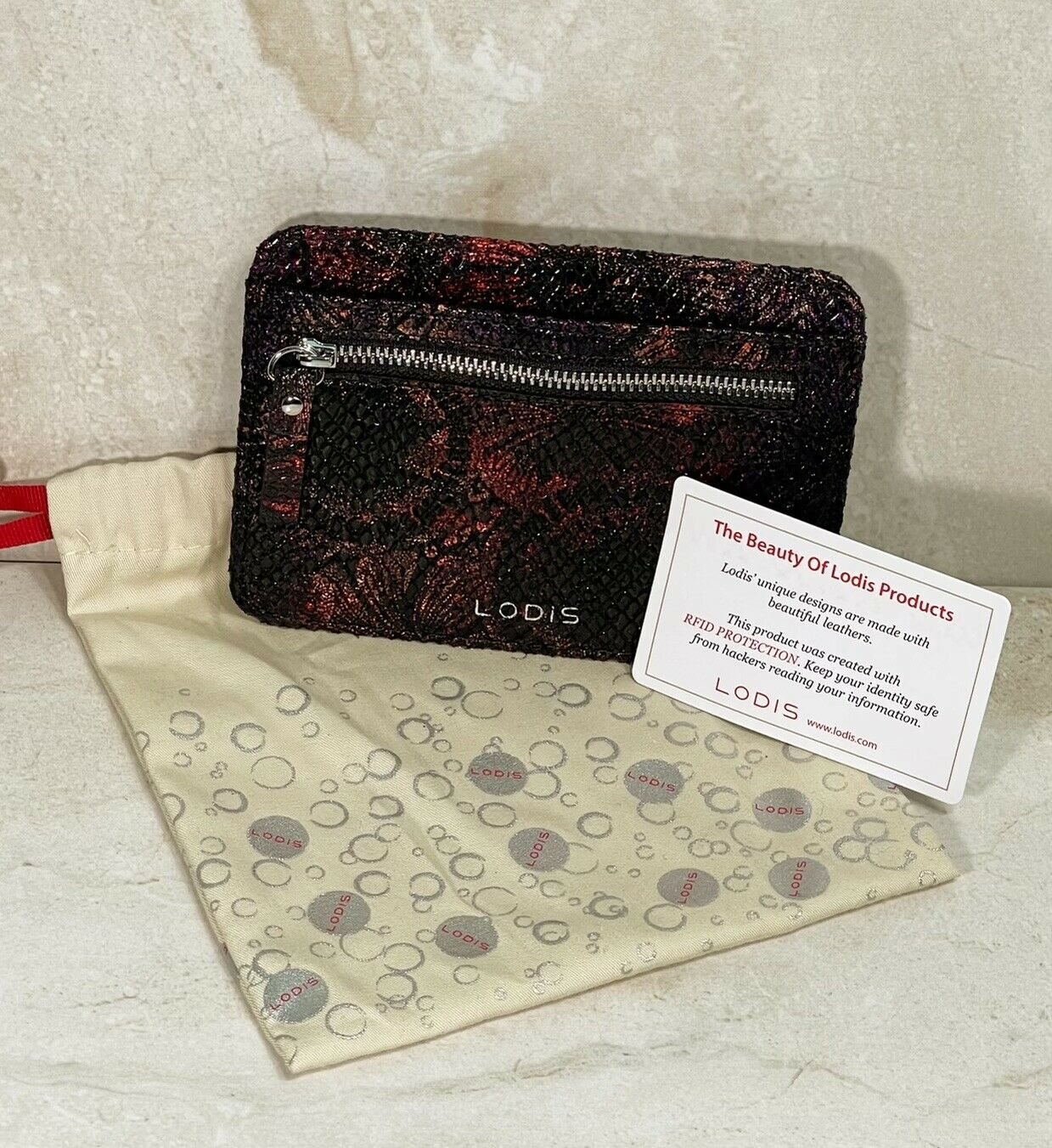 """Lodis Women's Holder Wallet 5.5""""x 4"""" RFID BLOCKING Leather w/Dust Bag New WOT"""