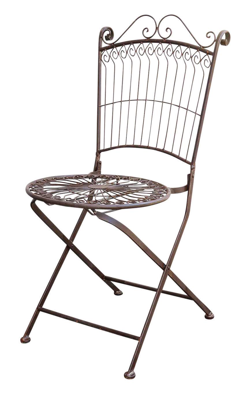 Silla de jardín silla silla plegable muebles de jardín nostalgia anitk-estilo metal marrón
