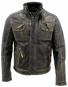 Mens-Vintage-Biker-Style-Motorcycle-Cafe-Racer-Distressed-Leather-Jacket