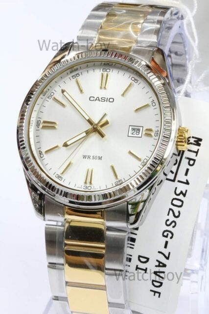MTP-1302SG-7A White Casio Stainless Steel Band Watches Men's Date Analog Quartz