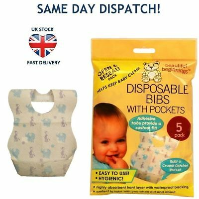 BABY TODDLER DISPOSABLE BIBS w POCKET Hygenic Easy to Use Travel Holidays 5 Pack