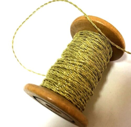 """VINTAGE Antique FRENCH 1900 Gold 3yds METALLIC SPUN TWISTED CORD 1//16/"""""""