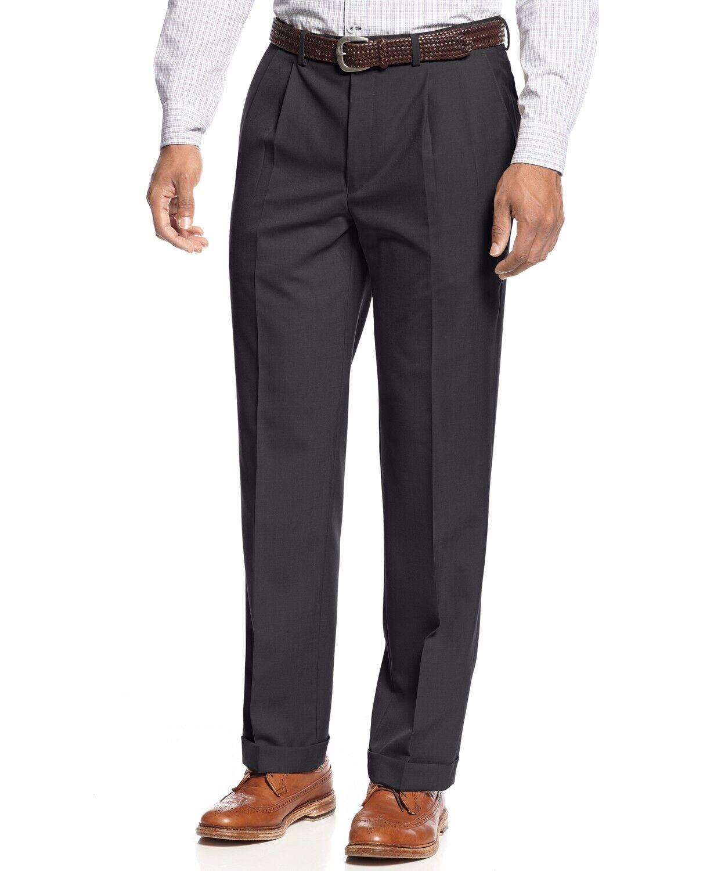 Lauren Ralph Lauren Men's Solid Wool-Blend Pleated Dress Pants,Navy, 34W x 34L