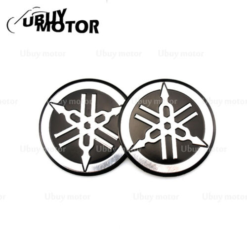2PCS 55MM Tuning Fork Logo Black Silver Decal Emblem Sticker Tank Pad for Yamaha