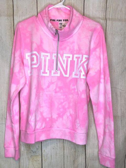 2c06562705b0c Victoria's Secret Pink Tie Dye Quarter Zip Pullover Sweatshirt M