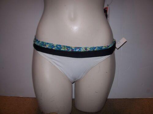 NEW Roxy Raisins bikini swimsuit blue floral 2pc set MEDIUM reversible