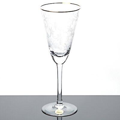 1 Sektglas Spiegelau Rüdesheim Goldrand Weinlaub Ätzdekor Glas 50er Form Tüte