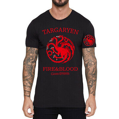 Game of Thrones Black Men's Short Sleeve Pure Cotton T-Shirt Printed Asia Size