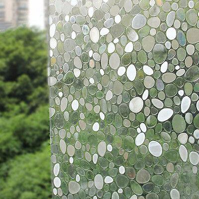 Removable Cobblestone Shaped Glass Sticker Bathroom Slide Door Window 45x100cm