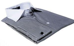 Labiyeur-Men-039-s-Slim-Fit-French-Cuff-Striped-Dress-Shirt-Black-White