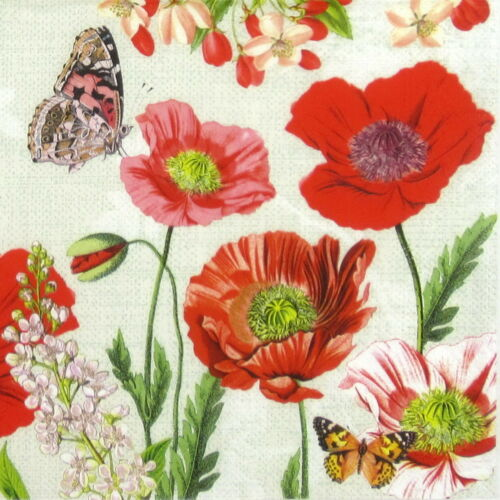 Poppy Field 4x Paper Napkins for Party Decoupage Craft