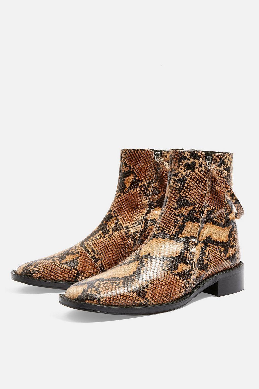 BNWT Topshop AUBREY Snake Print Flat Leather Boots UK 6