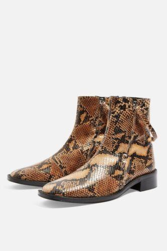 Snake Print Flat Bnwt Uk Boots 6 Leather Aubrey Topshop wtqSg