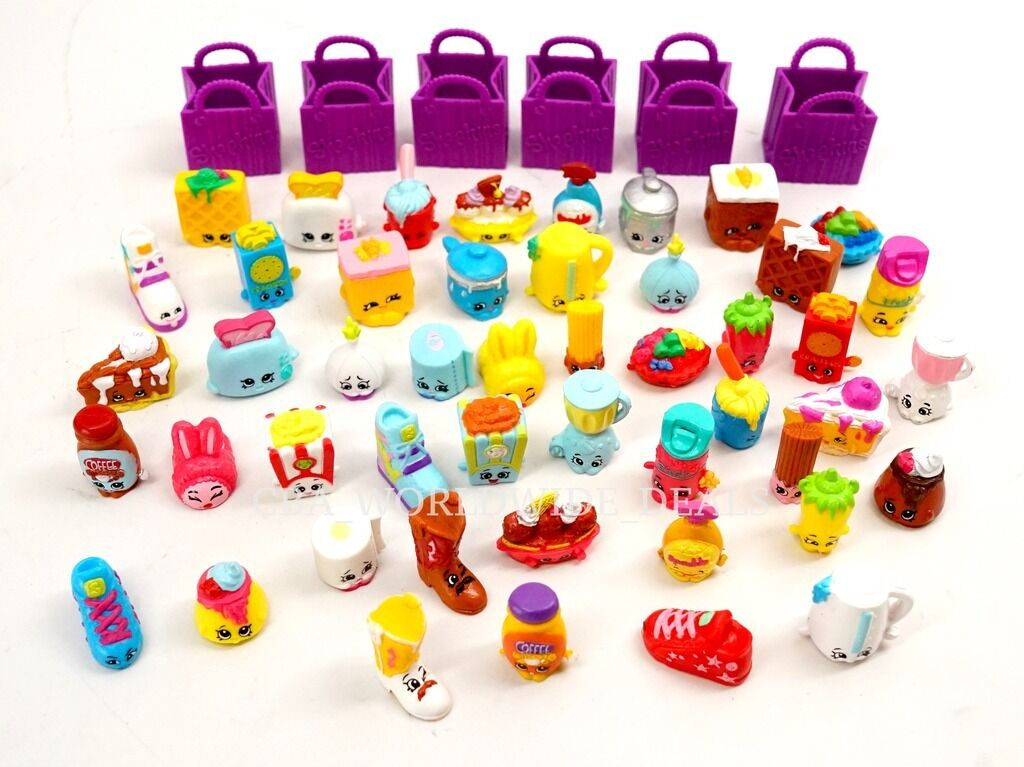 NEW Lot of 48 Shopkins Season 2 Figures + 6 Shopping Bags