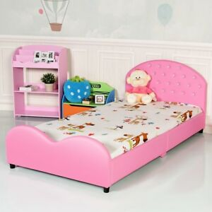 Details about Pink Upholstered Bed Frame Girls Princess Bedroom Platform  Furniture Headboard