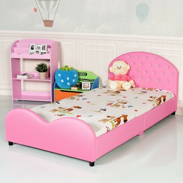 Pink Girls Princess Upholstered Bed Frame Platform Headboard Bedroom  Furniture