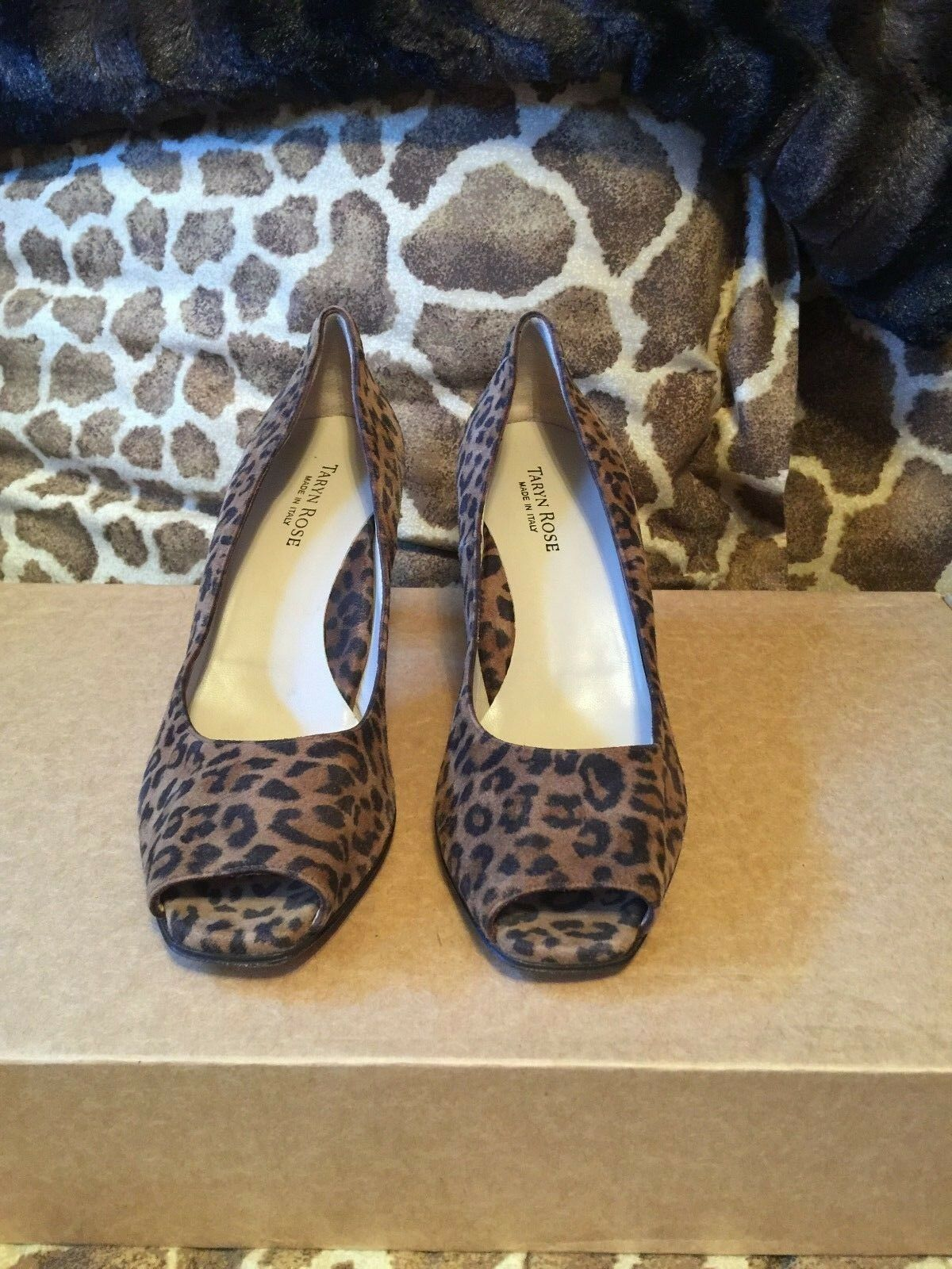 New TARYN pink Tan Animal Suede Open Toe Heels Pumps shoes Size 39.5 RV  250