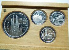 SET 4 MONEDAS 50 Y 10 EUROS ESPAÑA BARCELONA 2002 GAUDÍ AÑO INTERNACIONAL