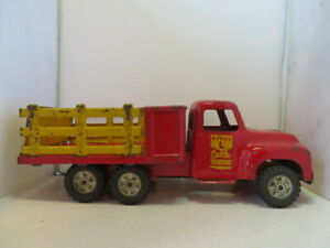 Buddy L Cattle Transport Truck - Pressed Steel - Original Red and Yellow Color