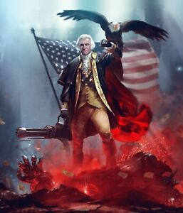 Details about George Washington Patriot Merica USA Awesome Machine Gun 8 5  x 11
