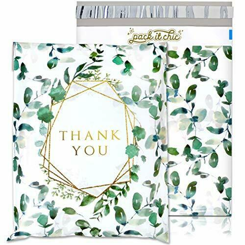 Thank You Poly Mailer 10X13 100 Pack Geometric Leaves Pattern Pack It Chic
