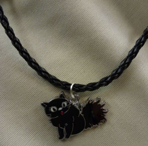 Kette schwarz Damen Mädchen SET Glücksbringer schwarze Katze silber NEU