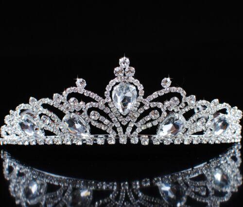 Flower Tiaras Diadem Wedding Brides Crowns Clear Rhinestones Crystal Headband