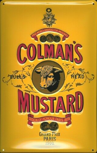 Colmans Mustard Metal Sign Signboard 3d Embossed Arched Tin 20 x 30 Cm