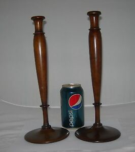 "set 2-Antique-Vintage Hand TURNED WOOD 12"" CANDLESTICKS Candle holders-Georgian"