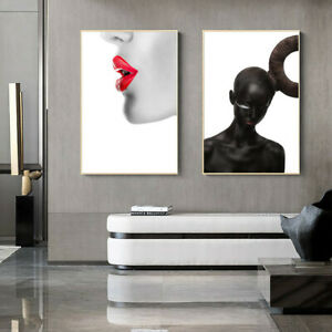 Black White Bald Headed Girl Red Lips Canvas Poster Art Picture Wall Home Decor Ebay