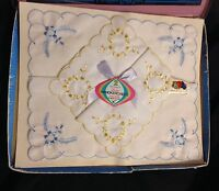 Vintage Set Of 2 Ladies Fruit Of The Loom Embroidered Handkerchiefs In Box