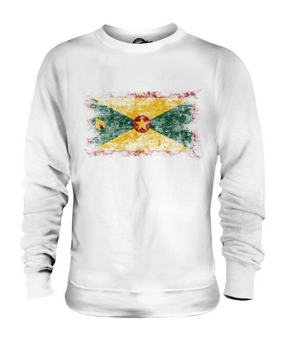 GRENADA DISTRESSED FLAG UNISEX SWEATER TOP GRENADIAN SHIRT FOOTBALL JERSEY GIFT