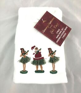 Tommy-Bahama-Hula-Days-Set-of-2-Christmas-Hand-Towels-3-Hula-Dancers-New
