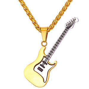 Stainless steel 18k two tone gold guitar shaped pendant necklace image is loading stainless steel 18k two tone gold guitar shaped aloadofball Choice Image