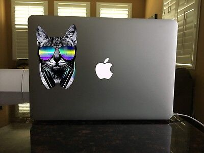 "3"" Cat Headphones Sunglasses Meow Kitty Kitten Music Vinyl Cool Sticker"