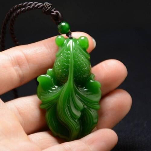 Best assez naturel jade Goldfish Hand-Carved Jadeite Jade Pendentif