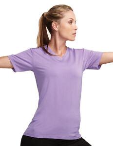 Tri-Mountain-Women-039-s-Moisture-Wicking-Short-Sleeve-Fitted-V-Neck-T-Shirt-KL010