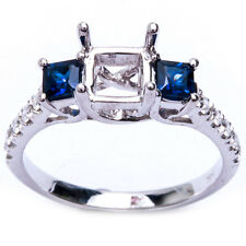 14KT Princess Cut Blue Sapphire Engagement Semi Mount 3 Stone Ring