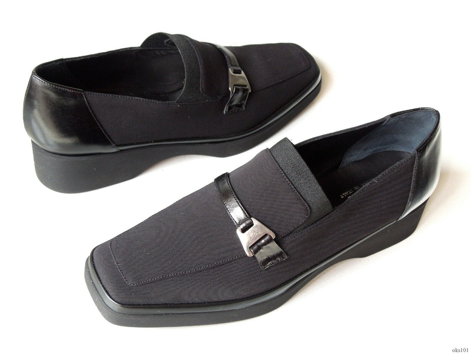 new RANGONI 'Imola' schwarz Leder/canvas loafers schuhe made in  6 - comfort