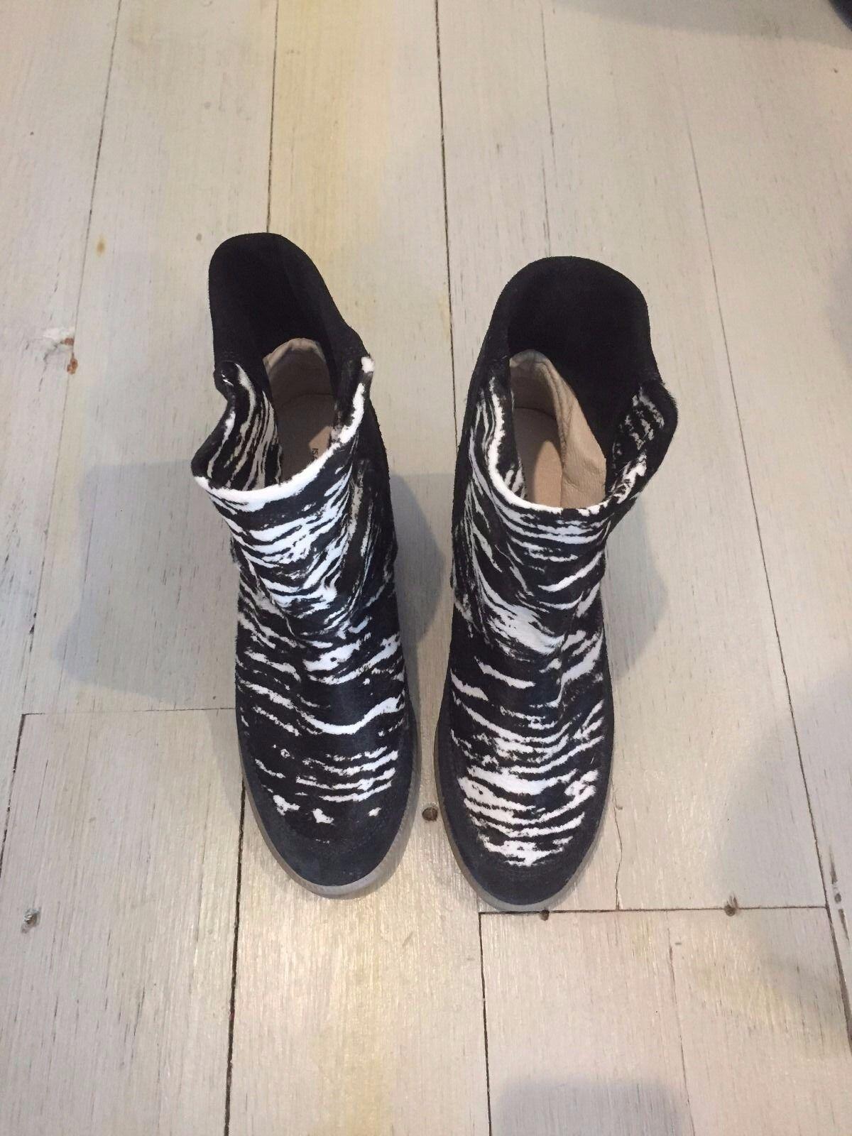 Isabel Marant Zebra Calf Hair and Suede hidden wedge bootie, 37, NEW