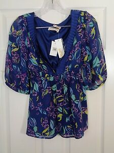Yumi-Kim-Nordstrom-Women-039-s-Top-Silk-Floral-Blue-Tunic-Size-Small-NWT