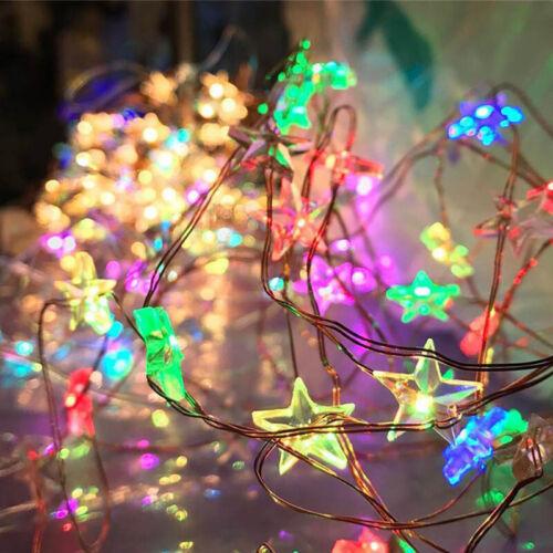20-80 Batterie DEL Star Fairy String Lights Globe Mariage Fête Jardin 8 modes UK