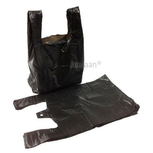 """2000 x Plastique Noir Vest Carrier Bags 8x13x18/"""" bouteille 20mu Sac"""