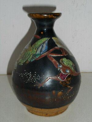 Enthousiast Vase Ancien En Grès émaillé Du Japon.décor De Grenouilles. Om Tot De Eerste Te Behoren Onder Vergelijkbare Producten