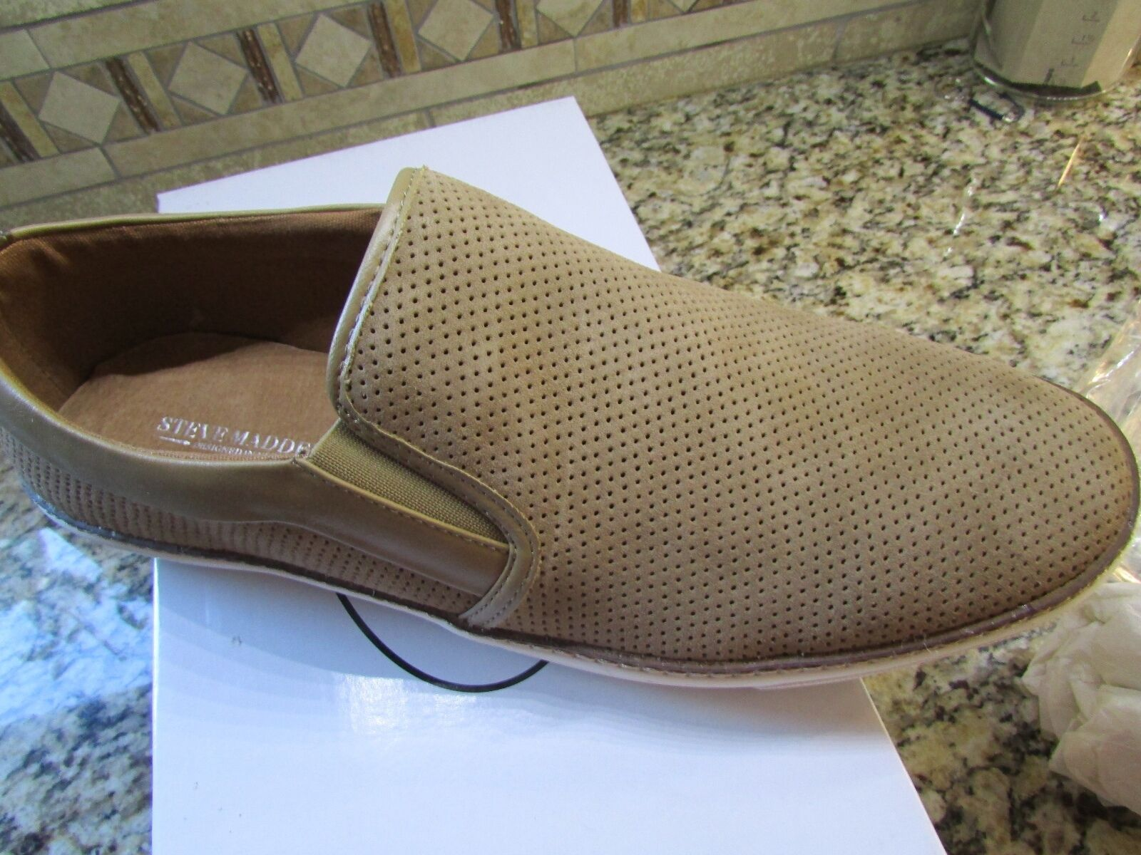 NEW STEVE MADDEN FERROW SAND SUEDE SHOES LOAFERS SLIP-ONS  Uomo 11.5 FREE SHIP