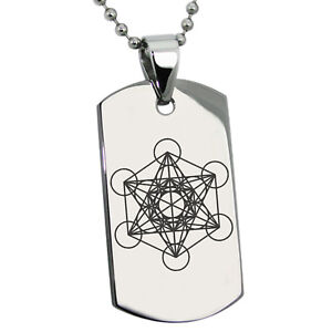 Stainless steel metatrons cube symbol dog tag pendant ebay image is loading stainless steel metatron s cube symbol dog tag aloadofball Gallery
