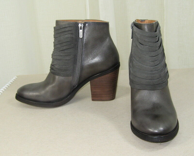 NEW PIKOLINOS Alicante Lead Grey Leather Ankle Bootie Bootie Ankle Boot/Side zip 39/US 8.5-9 aa7124
